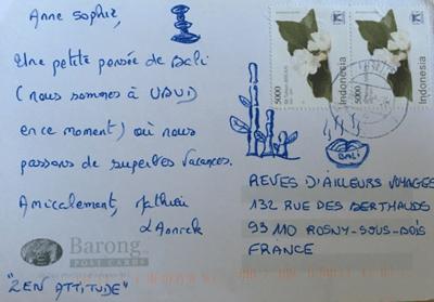 carte postale en provenance de Bali